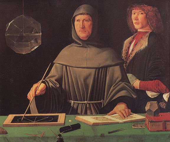 Portrait of Luca Pacioli, traditionally attributed to Jacopo de' Barbari, 1495 (Source: Wikipedia)