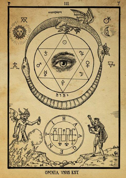 alchemy_woodcut_omnia_unus_est_by_dashinvaine-d62hzol