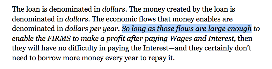 Critical Caveat - the RATE of Flow is critical to supporting Steves thesis, that the Interest can be paid out of flows