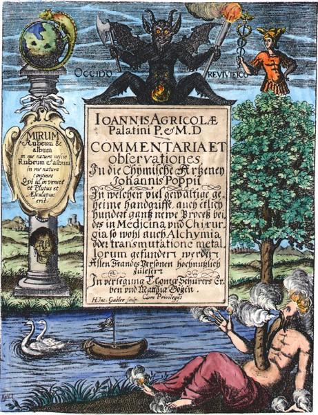Frontispiece engraving from Joannis Agricola Commentariorum, Notarum, Observationum & Animadversionum in Johannis Poppii chymische Medicin, Leipsig, 1638