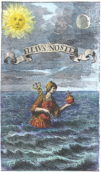 Mercury emerging from the sea, JE Muller_Wunder-materia, 1707