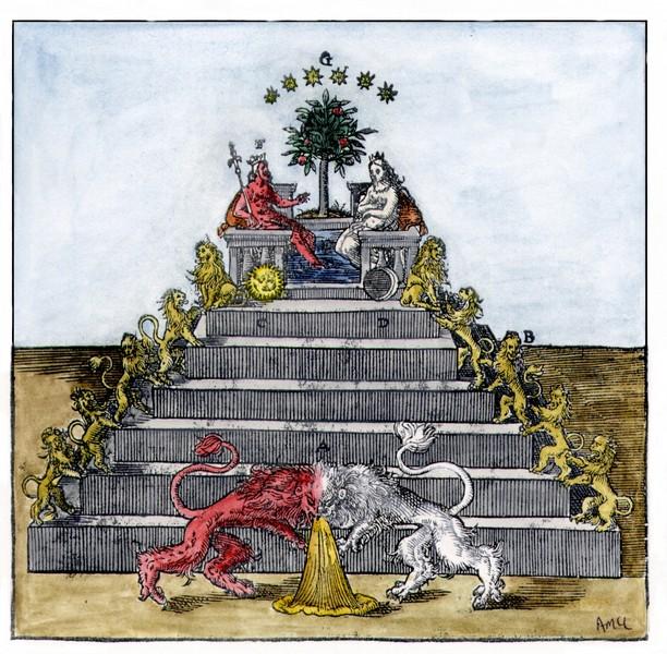 Pyramid of lions, from Andreas Libavius, Alchymia, Frankfurt 1606