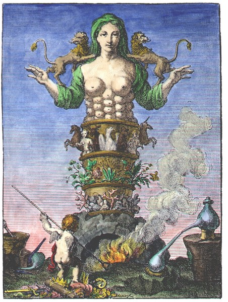Frontispiece engraving from Urban Hjärne, Actorum Chemicorum Holmiensium, 1753