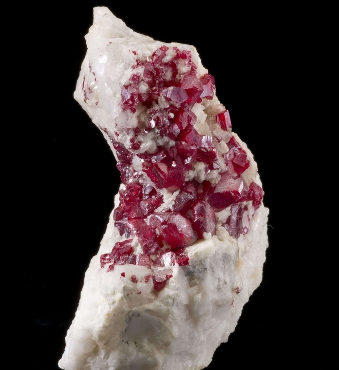 Cinnabar in calcite matrix_irocks-dot-com